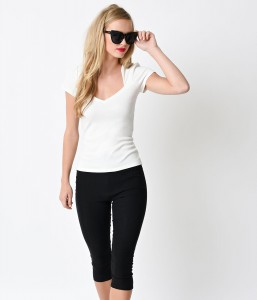 Ivory Short Sleeve Knit Sophia Top