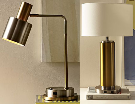 1. Cylinder Task Table Lamp + USB, $119; 2. Pillar Table Lamp + USB, $199