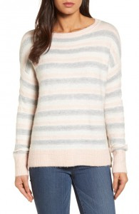 Caslon Long Sleeve Side Button Sweater in Ivory-Pink Stripe, Nordstrom, was $50, now $35.40