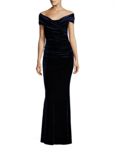 Talbot Runhof Gathered Off-the-Shoulder Velvet Gown, Saks Fifth Avenue, $1,550,