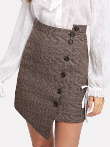 Button Up Asymmetrical Plaid Skirt, Shein, $20