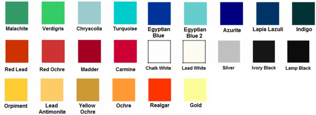 Ancient Egyptian color palette