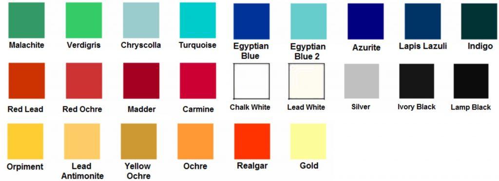 Ancient Egyptian color palette